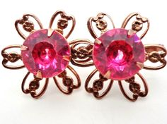 Vintage Pink Rhinestone Copper Earrings Flower Design Women's Screwback Round  #Unbranded #Floral
