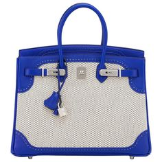 Hermes Blue Sapphire Ghillies Swift Criss Cross Ecru Graphite Toile 35cm Birkin | From a collection of rare vintage top handle bags at https://www.1stdibs.com/fashion/handbags-purses-bags/top-handle-bags/