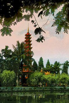 La pagode Trấn Quốc située sur l'île du lac de l'ouest (Tay Ho) est la plus ancienne pagode de Hanoï, Vietnam