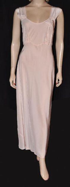 1940s  Slithery  Bias-Cut Rayon Nightgown~ Sz- 36+ ( 1606) ecb4630ba