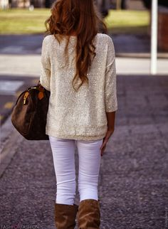 white skinny jeans and brown leather boots