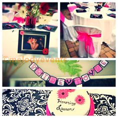 Bride, bridal shower, pink, black, damask, cake, table settings, melodyevents, bride to be, flowers, gerbera's