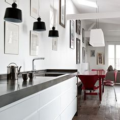 sleek with a hint of rustic on the floors. awesome. found via automatism blog.