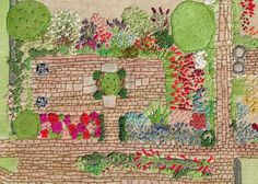 depictions of her her husband's garden plans. Embroidery Map, Vintage Embroidery, Cross Stitch Embroidery, Embroidery Patterns, Garden Embroidery, Fiber For Kids, Map Quilt, Landscape Art Quilts, Easter Garden