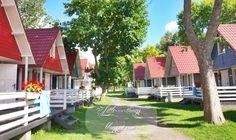 Poland, Polish sea side, Łeba camping scandinavian houses, little house at the sea side, coastal little house, house at the beach