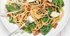 Ricardo's recipe : Pasta with Pancetta and Spinach Ricardo Recipe, Pasta Noodles, Fodmap, Main Meals, Spinach, Spaghetti, Clean Eating, Cooking Recipes, Pasta