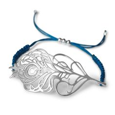 Feather Macreme Bracelet | Justine Brooks Design | Handmade Natural Silver Jewelry #peacock #feather #bracelet #turquoise #silver