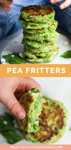 Pea fritters are a great first finger food for toddlers and baby led weaning Delicious hot or cold these kid friendly vegetable fritters are so versatile Enjoy them for b. First Finger Foods, Toddler Finger Foods, Healthy Toddler Meals, Toddler Snacks, Kids Meals, Healthy Snacks, Healthy Recipes, Big Finger, Toddler Dinners