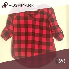 Black & red plaid 3/4 sleeve shirt, size small! Black & red plaid 3/4 sleeve top! Never been worn!! The perfect piece for a perfect fall look! Tops
