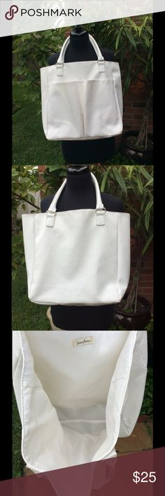 """Neiman Marcus Tote Bag EUC. Faux leather tote. Very clean and cleans up easy with soap and water. 2 outside deep pockets. Silver embellishments. 13 1/2"""" Deep, 5"""" Wide on sides and bottom. No stains inside. Neiman Marcus Bags Totes"""