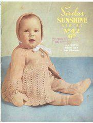 Sirdar sunshine 42 baby pram suit vintage knitting pattern ORIGINAL