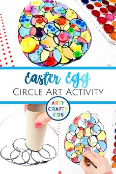 Circle Easter Egg Art for Kids Activity This simple Circle Art Easter Egg Activity can be adapted to suit children of all ages and explores printing techniques, line work, colour matching, basic colour theory and shapes. With the aide of our handy Easter Crafts For Toddlers, Toddler Crafts, Kids Crafts, Easy Crafts, Kids Diy, Creative Crafts, Easter Ideas For Kids, At Home Crafts For Kids, Easy Diy