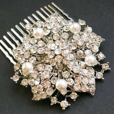 Vintage Bridal Hair Comb Rhinestone & Bridal White by luxedeluxe, $64.00