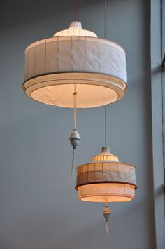 Tentlamp by Lotty Lindeman and Wouter Scheublin. Fabric shades that are far, far more interesting than the usual.