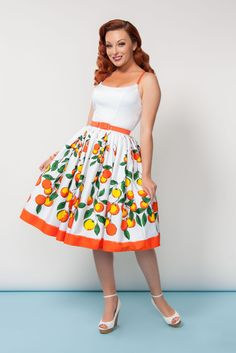 Pinup Couture Jenny Dress in Orange Border Print | Vintage Style Swing Dress | Pinup Girl Clothing
