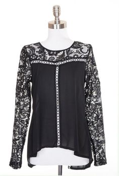 Easy on the Eyes Lace Sleeve Blouse - Black