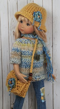 inspiration: love the sweater stitch details Knitting Dolls Clothes, Sewing Dolls, Knitted Dolls, Doll Clothes Patterns, Crochet Dolls, Doll Patterns, Child Doll, Girl Dolls, Doll Fancy Dress