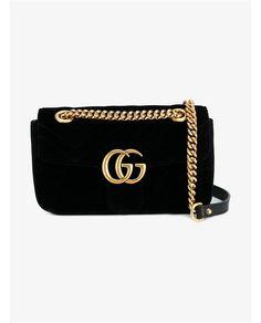 GUCCI GG Marmont Velvet Shoulder Bag. #gucci #bags #velvet #leather #lining #denim #shoulder bags #hand bags #silk #