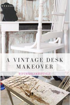 a vintage desk makeover #vintagedesk, #vintagedeskmakeover, #vintagefurniture