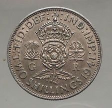 1941 United Kingdom Great Britain GEORGE VI Silver Florin 2Shillings Coin i56669