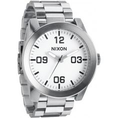 Nixon 'The Corporal' Bracelet Watch White/ Silver Cheap Watches For Men, Mens Watches For Sale, Cool Watches, Rolex Watches, Nixon Watches, Mens Watch Brands, Brand Name Watches, Watch Sale, Stainless Steel Case