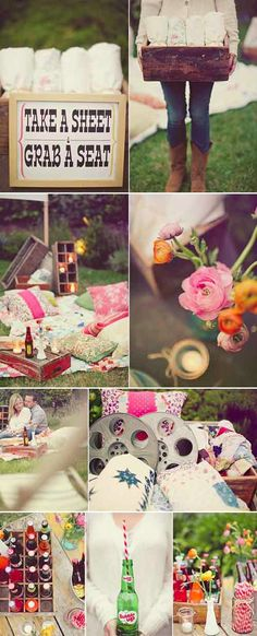 Picnic party/ movie night on the lawn. I love the way the sheets are set out for guests to pick their own picnic spot.