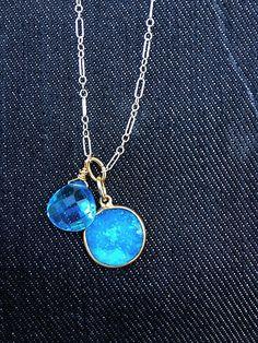 London blue topaz and druzy quartz by claudiablau on Etsy, $44.00