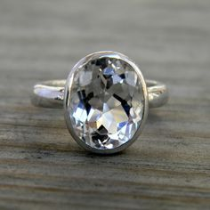 White Topaz Oval Rock Fetish IN Sterling Silver by onegarnetgirl, $198.00