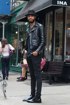 Cool handsome man is wearing double leather riders jacket Leather Fashion, Leather Men, Mens Fashion, Custom Leather, Leather Jackets, Style Fashion, Black Leather, Fashion Menswear, Leather Shorts
