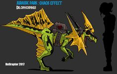 This is one cool hybrid, its a cross between a Dilophosaurus and Spinosaurus and was supposed to be released by Kenner as part of their Jurassic Park: C. JP: Chaos Effect Dilophospinus All Dinosaurs, Jurassic World Dinosaurs, Jurassic Park World, Dinosaur Design, Dinosaur Art, Dinosaur Fossils, Tous Les Pokemon, Jurassic Park Poster, Fossil Pokemon