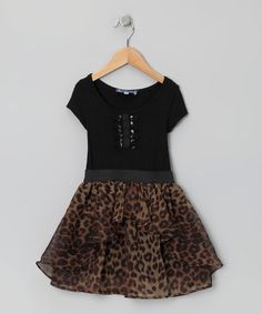 Take a look at this Black Leopard Dress - Girls by Hannah Banana & Truly Me on #zulily today!