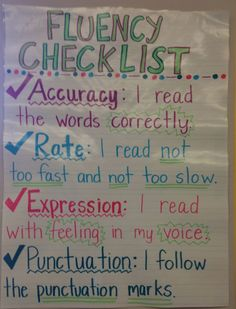 """Reading fluently -checklist- """"Children's ability to read fluently does than make them sound like good readers; it is evidence that they comprehend what they are reading"""" (Worthy & Prater, Reading Fluency Activities, Teaching Reading, Reading Comprehension, Guided Reading, Learning, Educational Activities, Teaching Ideas, Kindergarten Reading, Ela Anchor Charts"""