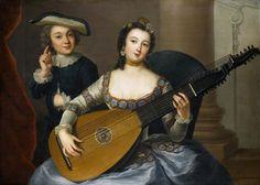 Portrait d'une femme et d'un homme avec un luth à 24 cordes, dit Allégorie d'audience, par Anna Rosina de Gasc