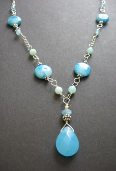 Aqua MultiStone Necklace   Pacifica by SimpleElementsDesign, $49.00