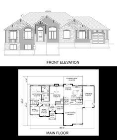 R 1782 pdf one story house plans pinterest house for 3 car side load garage