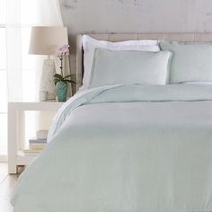 The Evelyn Duvet is made by experts by merging form with function at Surya and is translated as the most relevant apparel and home decor trends into fashion-forward products across a range of styles and price points.  100% Linen Woven Crochet Edge Color: Sky Blue Made in India