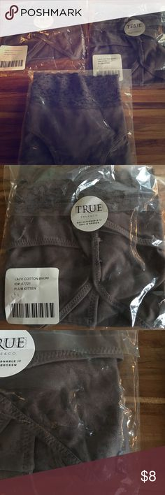 """3 pairs NIB True&Co Plum Kitten cotton underwear L 3 pairs of """"Plum kitten"""" (really more of a grey) cotton bikini. Bought 4 prs found it to fit more like a m/7 size. Pretty mostly grey color with a hint of purple. BNIB never opened. I waited too long to exchange Forever 21 Intimates & Sleepwear Panties"""