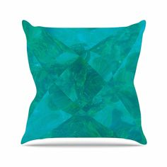 KESS InHouse ME1017AOP03 18 x 18-Inch 'Matt Eklund Under The Sea Teal Green' Outdoor Throw Cushion - Multi-Colour -- Find out more at the image link. #GardenFurnitureandAccessories