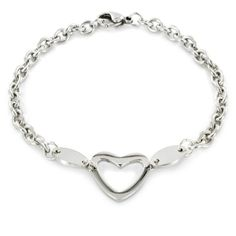 Stainless Steel Polished 7.25 inch Heart Cut Out Charm Bracelet - 7.25, bracelet, Charm, Heart, inch, Polished, Stainless, Steel - http://designerjewelrygalleria.com/designer-jewelry-galleria/stainless-steel-polished-7-25-inch-heart-cut-out-charm-bracelet/