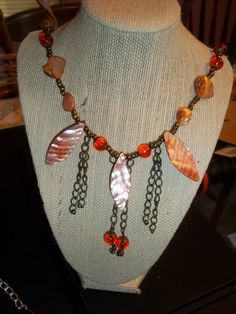 orange and antique bronze expandable necklace | gold-art - Jewelry on ArtFire