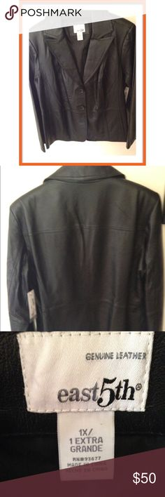"BLACK LEATHER JACKET East 5th brand leather blazer outer shell 100% leather &inner she'll 100% polyester with 3 button closure. Also 2 side pockets, 30"" length, bust 22"" & back shoulder to shoulder 18 1/2"" in black leather! Jackets & Coats Blazers"