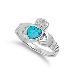 "Selling this ""Sterling Silver Claddagh w/ Lab Blue Opal 12mm"" in my Poshmark closet! My username is: kaileesjb. #shopmycloset #poshmark #fashion #shopping #style #forsale #Jewelry"