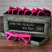 Hot pink frame Wayfarer style sunglasses favors with personalized stickers on arms