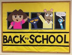 Back to school bulletin board school bus Pigeon, Pete, Arthur, Dora, used for the beginning of the school year. September Bulletin Boards, Elementary Bulletin Boards, Kindergarten Bulletin Boards, Interactive Bulletin Boards, Birthday Bulletin Boards, Back To School Bulletin Boards, Elementary Library, Back To School Displays, School Library Displays