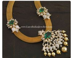 Mesh chain with diamond pendant and earrings