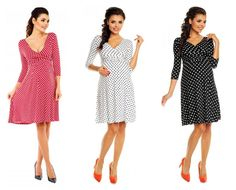 Look & feel gorgeous in this foxy knee length polkadot circle dress with a modern twist, making for a great day to evening dress. Maternity Wear, Maternity Dresses, Circle Dress, Evening Dresses, Summer Dresses, Flared Skirt, Polka Dots, Dresses For Work, Skirts