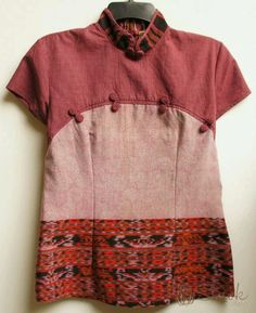 Ikat and contrasting fabrics; bustline and dart details