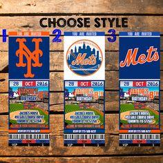 New York Mets Birthday Ticket Invitation, New York Mets Invite, New York Mets, New York Mets Invitations, New York Mets Ticket by HappyColorsDesign on Etsy https://www.etsy.com/listing/469243740/new-york-mets-birthday-ticket-invitation