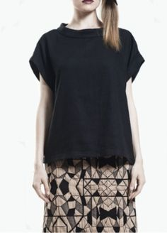 Woven silk Black tee | Tees #fashion #style #tops #tee