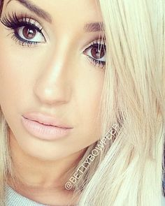 I like the brown eyes with blonde hair with thick eyebrows